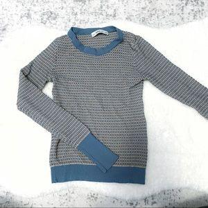 Zara Knit sweater blue orange waffle long sleeve